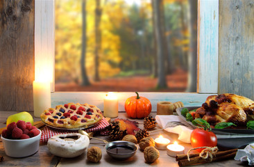 Thanksgiving background with window space