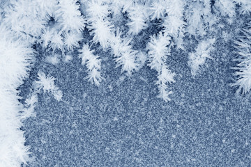 Frozen ice crystals on the ground