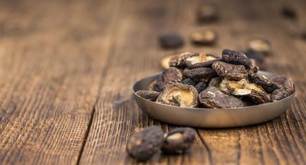 Dried Shiitake mushrooms close-up shot, selective focus