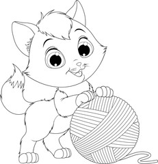 funny kitten with a ball of threads.