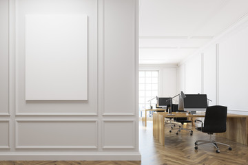 White open space office interior, poster