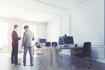 White open space office interior corner toned