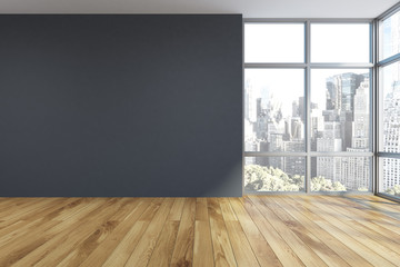 Empty gray room interior, window Wall mural