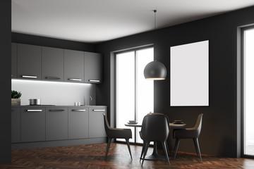 Black dining room interior, poster, side
