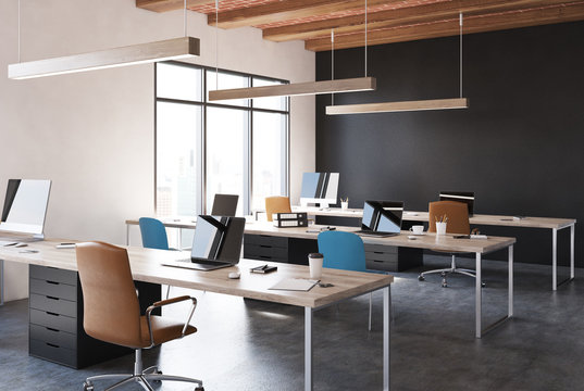 Black open space office corner