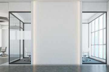 White open space office, blank wall, aquarium
