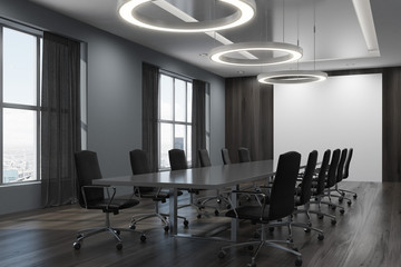 Black conference room interior corner