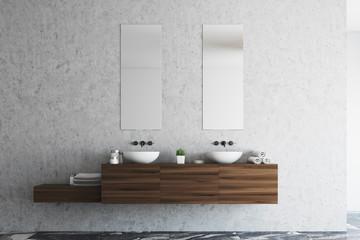 Concrete bathroom double sink