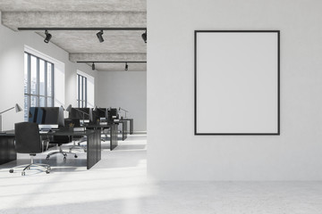 White open space office interior, framed poster