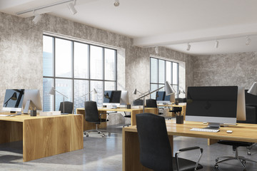 Concrete open space office interior, wood