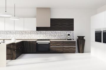 Mosaic kitchen, dark wooden countertops