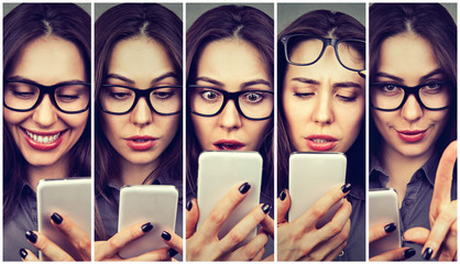 Woman expressing different emotions using smartphone
