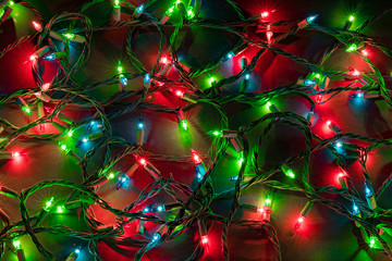Colorful Christmas lights background