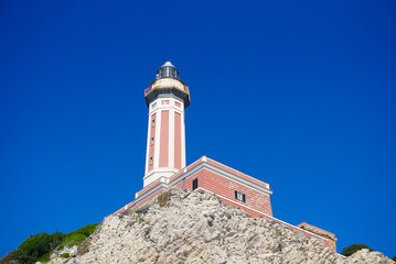 The Lighthouse on the cliff at Punta Carena on the island of Capri, Italy