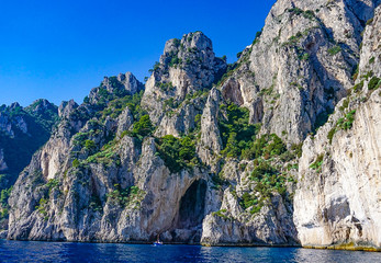 The White Grotto of the island of Capri, Italy.