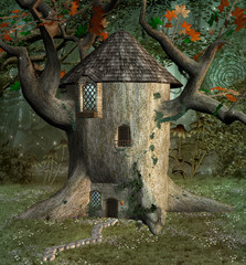 Fototapete - Fantasy tree house in the forest