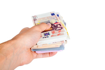 Euro Banknotes on Man Hand Saving Money