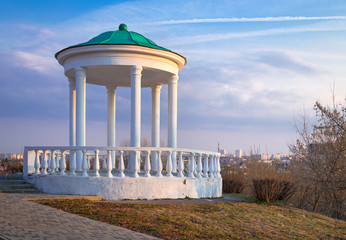 Gazebo in historical park Home of the Gentry at sunset, Oryol. Russia