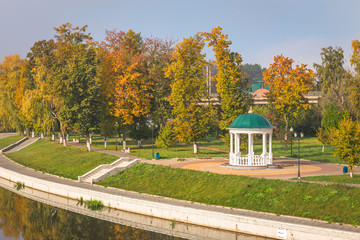 River Orlik with gazebo in Oryol, Russia