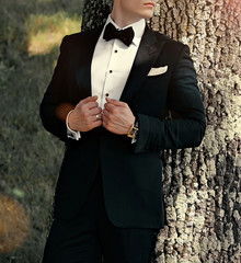 Portrait of a groom by tree