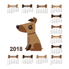 Year of the Dog. Wall Calendar for 2018 from Sunday to Saturday.