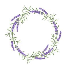 Vector lavender wreath. Beautiful violet lavender flowers colmposition. Design element