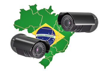 Surveillance and security system concept in Brazil. 3D rendering