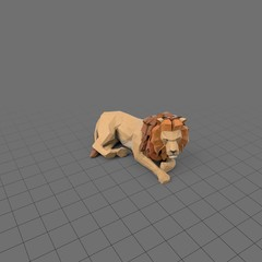 Stylized lion lying down