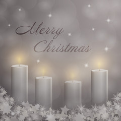 Christmas time. Advent with 4 candles and Christmas landscape. Text : Merry Christmas.