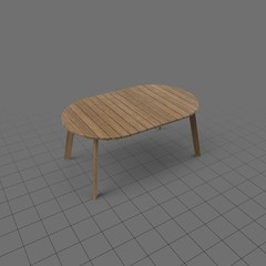Oval varnished wood patio table