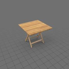 Square folding wood patio table