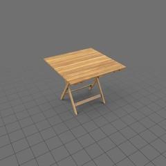 Square folding wood patio table