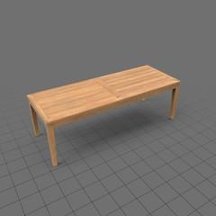 Rectangular light wood patio table
