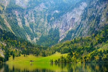 Fototapete - Stunning green waters of Obersee, located near Konigssee, known as Germany's deepest and cleanest lake, situated in the extreme southeast Berchtesgadener Land district of Bavaria, Germany