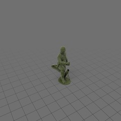 Green plastic soldier with mortar