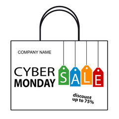 Cyber Monday Sale Bag - Vector Illustration