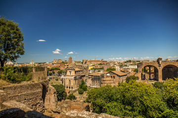 View over the ruins of the Roman Forum, Rome, Italy