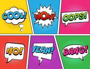 Spoed Fotobehang Pop Art Retro comic speech bubbles set on colorful background. Expression text COOL, NO, WOW, YEAH, OOPS, BANG. Vector illustration, vintage design, pop art style.