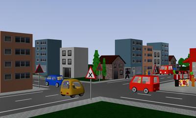 Kreuzung mit rechts vor links Regelung mit drei bunten Autos. Mit deutschen Straßenschildern