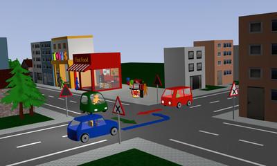 Kreuzung mit rechts vor links Regelung mit drei bunten Autos und Richtungspfeilen. Mit deutschen Straßenschildern