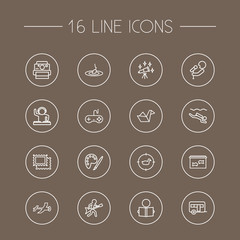 Set Of 16 Hobbie Outline Icons Set.Collection Of Fishing, Origami, Dj And Other Elements.