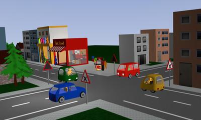 Kreuzung mit rechts vor links Regelung mit vier bunten Autos in der Stadtmitte. Mit deutschen Straßenschildern.