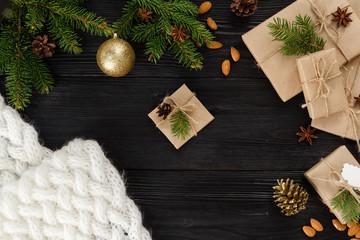 gift box on black wood