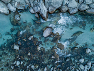 Aerial view of river flowing between rocks, close up