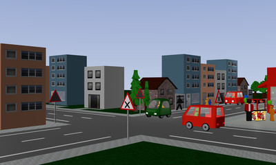 Kreuzung mit rechts vor links Regelung mit zwei bunten Autos. Mit deutschen Straßenschildern.