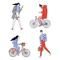 Set of urban characters. Hipster and a girl on a bicycle, a girl and the guy with the phone. Vector illustration