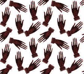 Seamless pattern abstract boho hamsa hand background colorful. Vector illustration