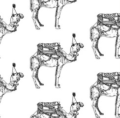 Seamless new year camel pattern. Vector illustration