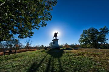 Gettysburg Battlefield Monument at sunset in Autumn