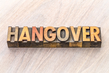 hangover word abstract in wood type